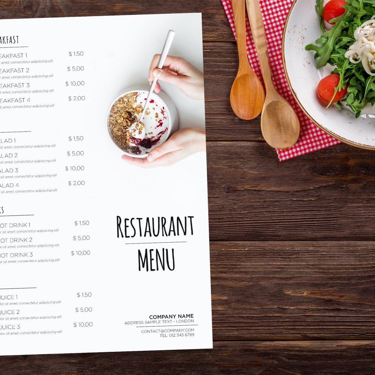 ¿Cómo diseñar el menú de un restaurante?